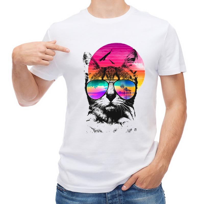 TEEHUB New Summer Cat T Shirt Fashion 3D Sunglass Cat Printed Men T-shirt Short Sleeve O-Neck Tops C