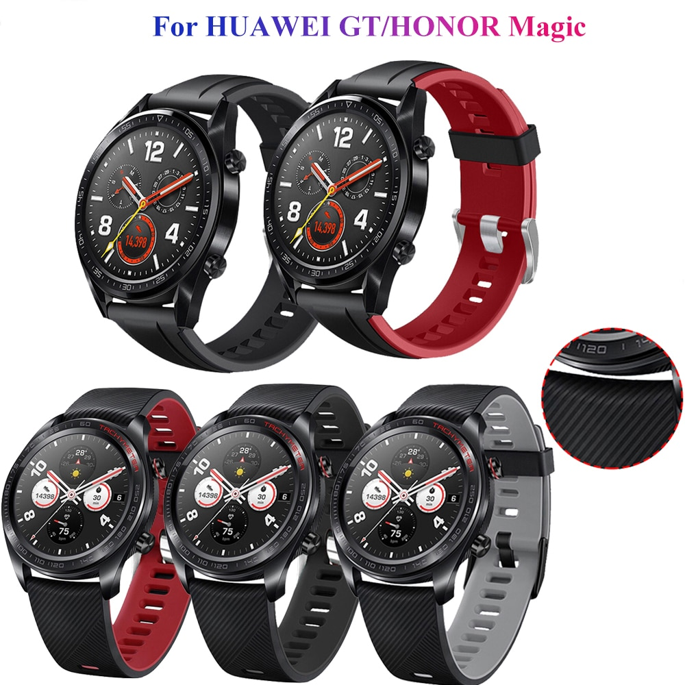 Silicone Wristband Strap for HUAWEI watch GT/GT 2 46mm GT2e HONOR Watch Magic 2 strap Bracelet GT2 Smartwatch Watchband 22mm silicone leather watchband for huawei watch gt gt2 46 honor magic 2 46mm watch band wrist strap bracelet belt for ticwatch pro