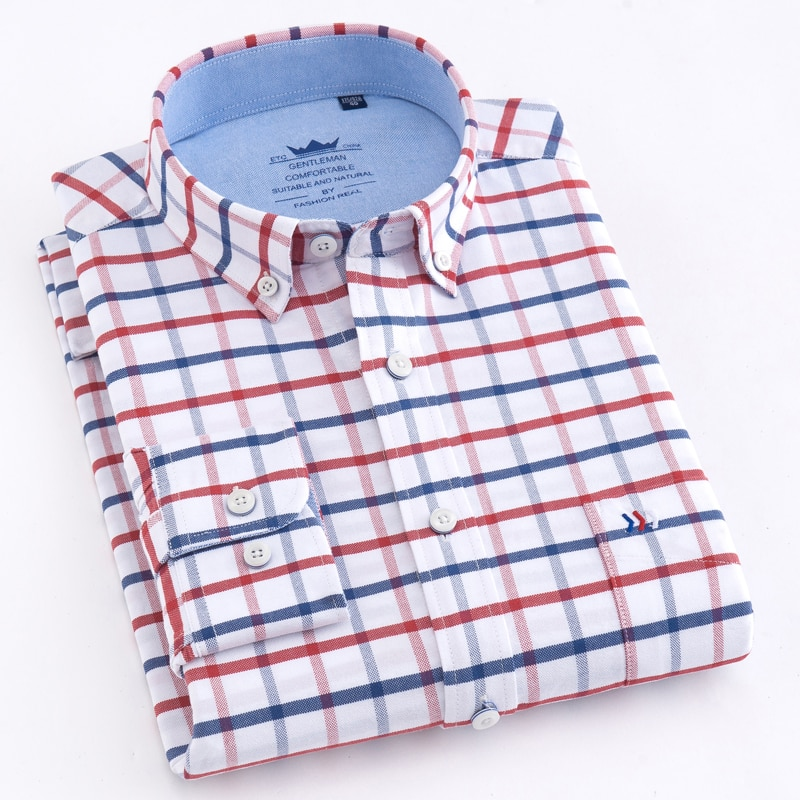 Мужская рубашка в клетку/в полоску, Повседневная Толстая Классическая рубашка из хлопка Оксфорд, с одним накладным карманом, длинными рукав...