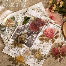 60 unids/lote de pegatinas de acuarela Vintage, flor, planta, calcomanías para portátil, álbum de recortes, diario, planificador, fabricación de tarjetas