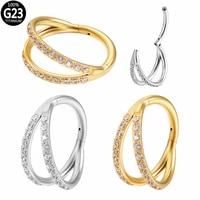 g23 titanium cz septum clicker hoop nose stud hinged segment labret ear tragus cartilage daith helix piercing nose ring jewelry