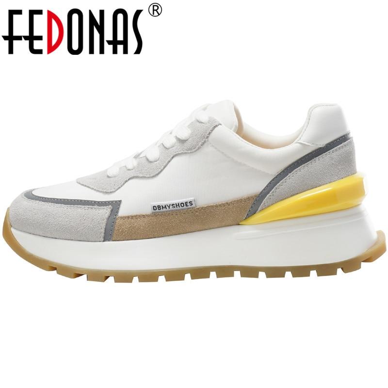 FEDONAS Ins 2021 مضيئة النساء أحذية رياضية مختلط الألوان منصة حذاء كاجوال جلد طبيعي الصليب تعادل الاحذية أحذية رياضية امرأة