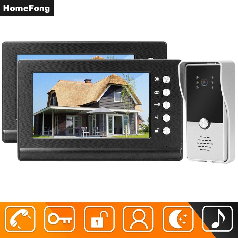 Homefong السلكية فيديو إنترفون 2 شاشات الفيديو باب الهاتف دعم 2 الكهربائية أقفال ل شقة الرئيسية قفل نظام مراقبة الدخول
