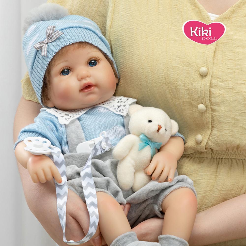 Lifelike bebe realista boneca renascer macio algodão simulação do bebê silicone boneca 17 polegada roupas boneca com urso presente da criança brinquedos