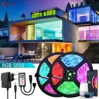 Bande lumineuse LED RGB 5050  12V  etanche  avec controle vocal  wi-fi  compatible Tuya  Alexa et Google Assistant  pour decoration de Festival a domicile