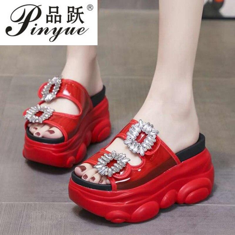 Zapatillas de cuña de altura, zapatos de moda para mujer, plataforma plana, parte inferior gruesa, zapatillas de verano con diamantes de imitación, para mujer