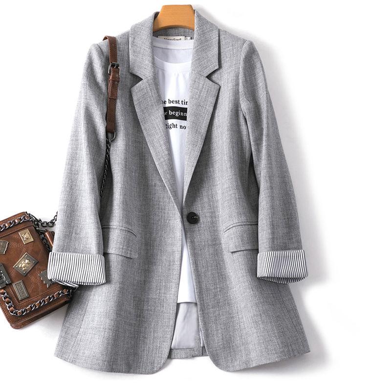 Блейзеры женские модные в стиле пэчворк корейские шикарные весенние свободные женские элегантные куртки с карманами минималистичные блей...