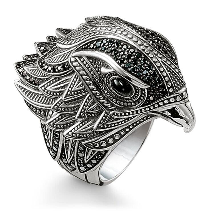 Retro Schmuck Punk Ring für Männer Thai Silber Carving Schwarz Zirkonia Übertrieben Adler Tier Partei Ringe für Männliche Beste geschenk