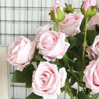 Roses artificielles en flanelle  fausses fleurs  pour un Bouquet de mariage  pour une decoration de printemps