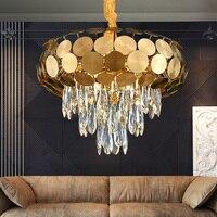 Post-modern light luxury chandelier living room lighting net simple crystal lamp dining room bedroom Nordic molecular lamps