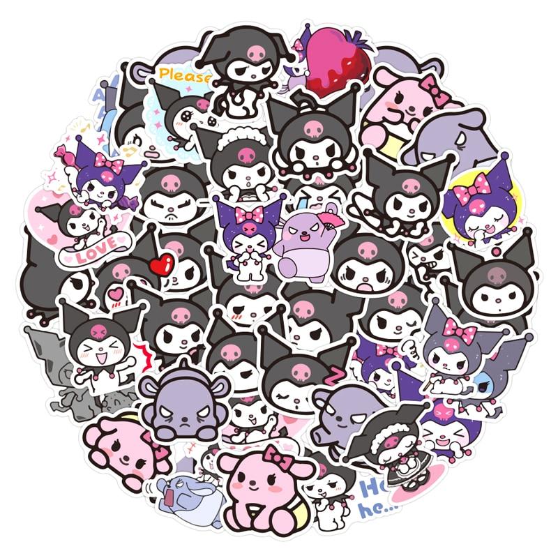 50 unids/pack japonés anime My Melody Kuromi pegatinas de dibujos animados para nevera coche casco caja de regalo bicicleta guitarra cuaderno Skate