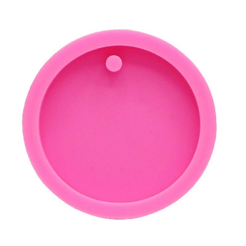 Molde de silicona para hornear DIY con forma de llavero de disco grande y pequeño para aromaterapia colgante de coche fondant para decoración de pasteles