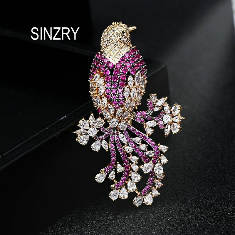 SINZRY hot cut cubic zirconia ethnic phoenix bird dazzling brooches pin Luxury creative  jewelry accessory