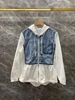 2021 new women fashion neckline hooded denim stitching decoration long sleeved zipper short coat 806