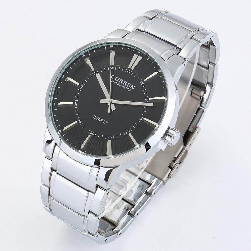 Marca de luxo curren 8001 estilo simples clássico quartzo pulso dos homens relógios topo aço completo relógio masculino à prova dwaterproof água esportes