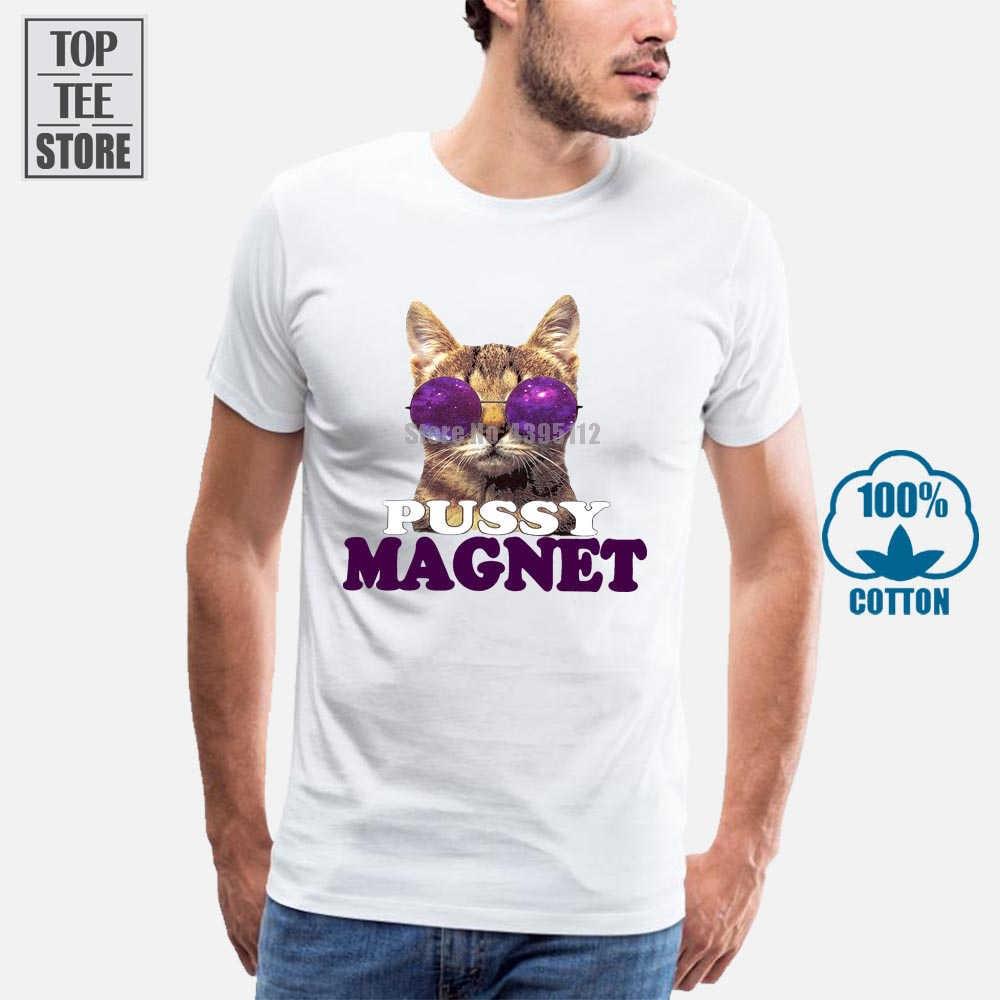 2018 caliente Verano Divertido Cool moda impreso Hipster Tops MenS camiseta MenS Pussy Magnet Cat gafas de sol divertida Meme camiseta