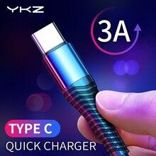 YKZ 3A USB Type C câble Charge rapide fil type-c USB C chargeur pour Samsung Galaxy Xiaomi Huawei téléphone portable USB-C câble USB cordon