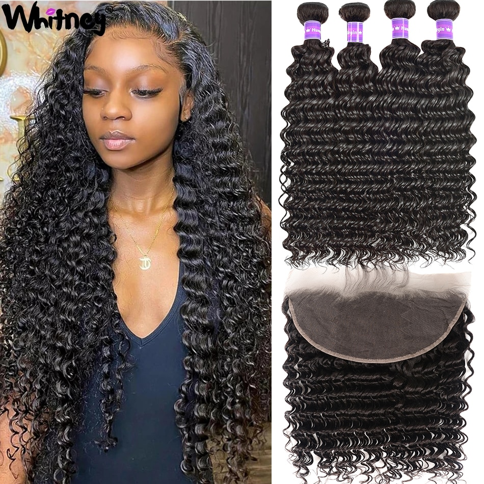 Brazilian Deep Wave Bundles With Frontal Extension 3/4 Bundles HD Transparent Lace With Closure & Frontal Remy Hair For Women