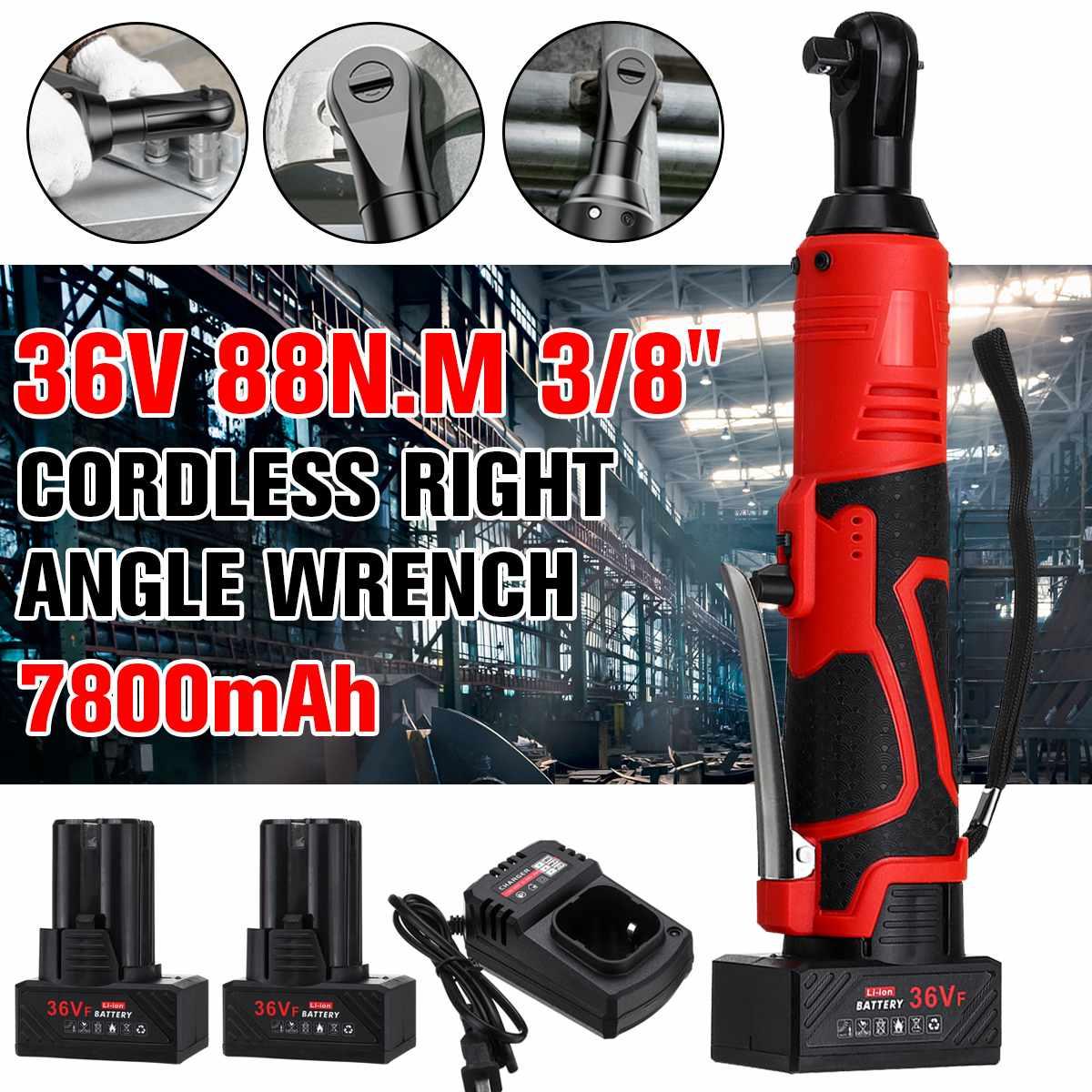 36V clé électrique sans fil cliquet 3/8 pouces avec 1/2 chargeur de batterie Rechargeable échafaudage 88N.m clé à Angle droit outil