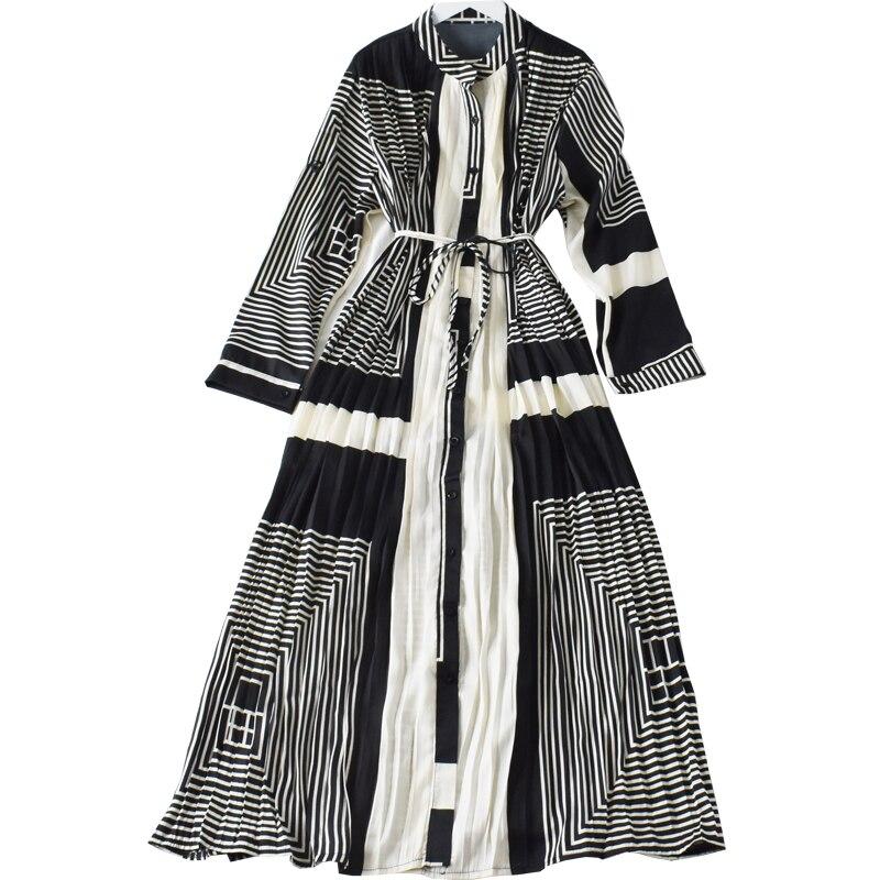 2020 primavera Vestido largo de dama plisado estampado rayas manga larga cordón largo vestido urbano mujeres vestido de un solo pecho