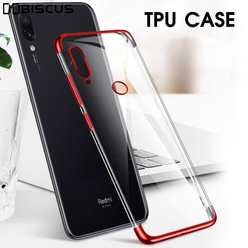 Lujosa funda de silicona suave TPU transparente Ultra fina para Xiaomi mi 9 SE 8 Lite cubierta roja mi 7A 8A Note 7 Pro chapado de moda shell