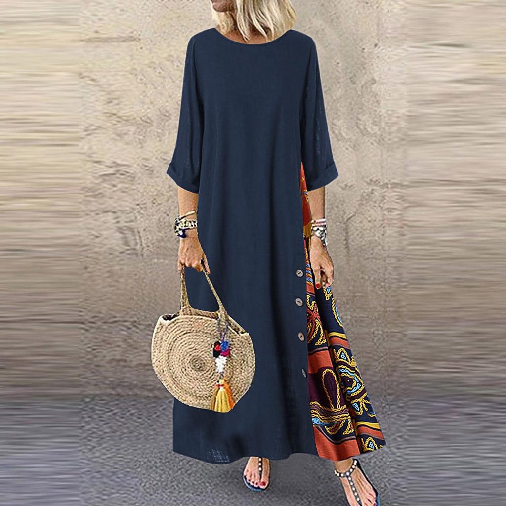 JAYCOSIN vestido de las mujeres casuales Patchwork manga cuello botón dobladillo alto bajo de talla grande Vestidos Maxi Vestidos de mujer Dropship 828