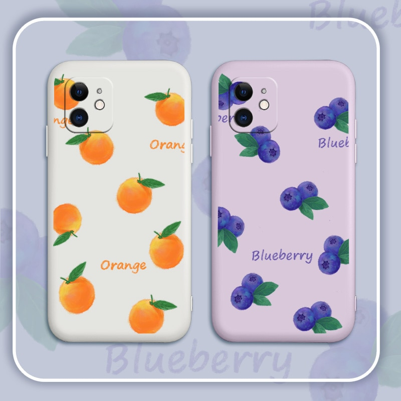 Refreshing Blueberries Case For iPhone 12 Pro Max 11 X XS  XR XSMAX SE2020 8 8Plus 7 7Plus 6 6S Plus Liquid Silicone Cover