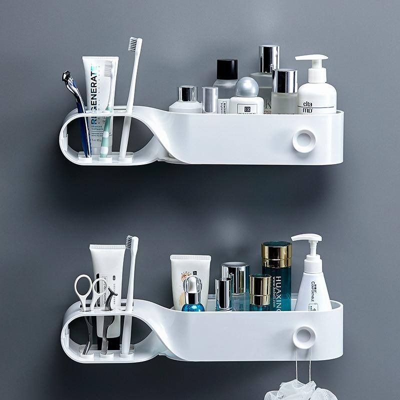 Bathroom punching free toiletries receive bathroom wall multi-functional toothbrush holder cosmetic shelf