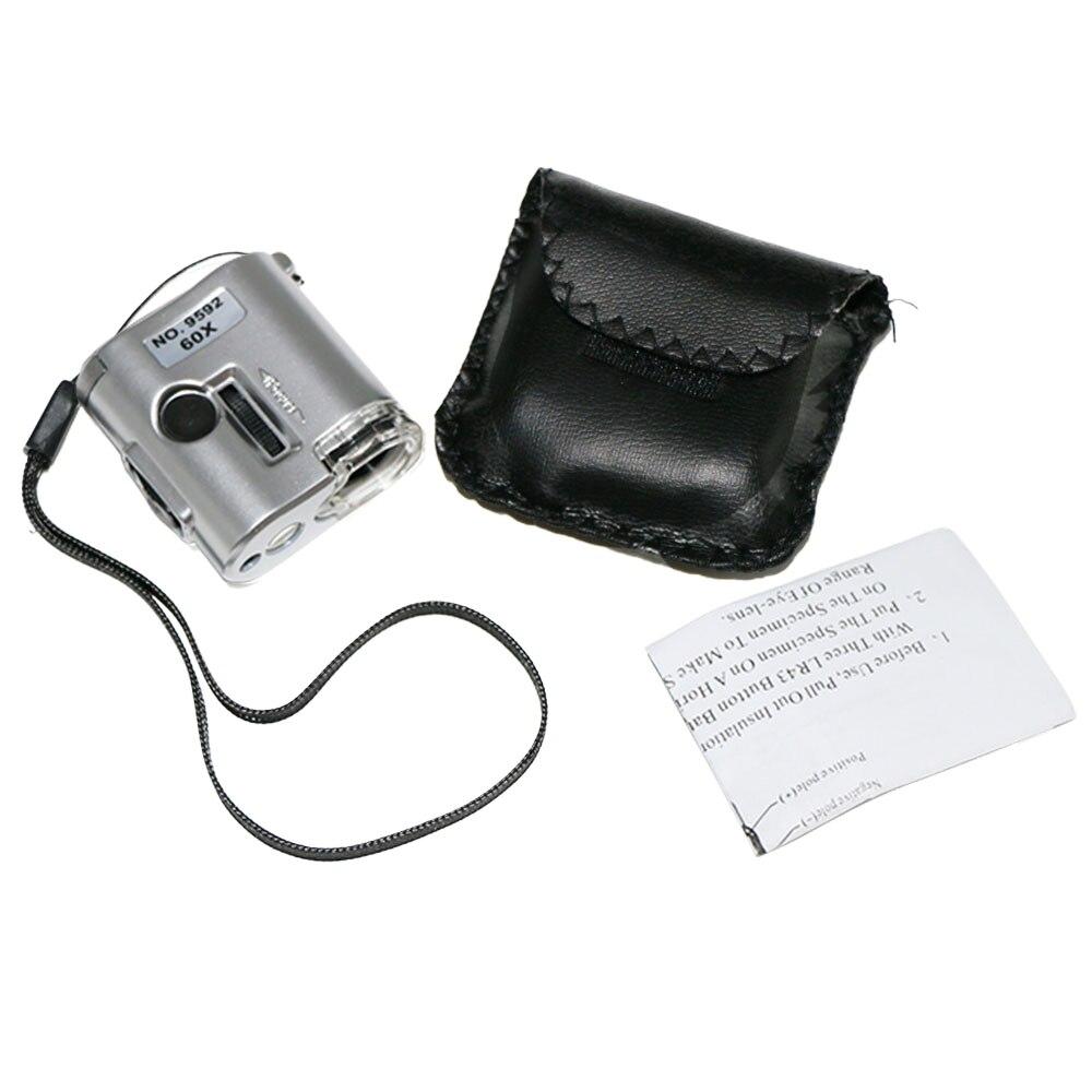 Portátil de mano 60 veces con lupa de luz LED Gran Aumento luz ultravioleta falsa microscopio inspección gafas de Paloma