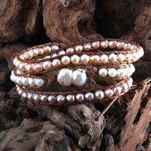 Pulsera RH de moda Boho brazalete de perlas de agua dulce 3 hebras pulseras de envoltura tejida Dropshipping