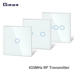 Girier 433 МГц RF сенсорный пульт дистанционного управления панель из закаленного стекла беспроводной настенный радиочастотный передатчик 1/2/3 б...