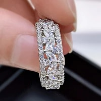925 sterling silver ring luxury shining white marquise surrounded full diamonds rings for women wedding engagement fine jewelry