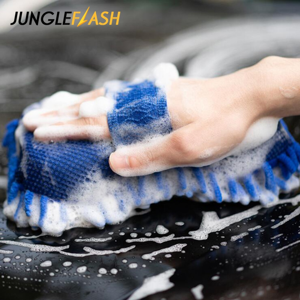 JUNGLEFLASH перчатки для мойки автомобиля, Чистящая губка, автомобильные аксессуары из шенилла, инструменты для очистки лобового стекла автомоб...