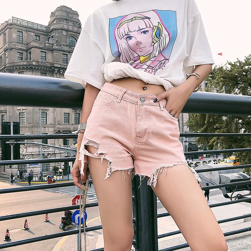 Shorts Mjuer Casual Chic Hole Tassle Denim Jeans Pink Short Pants 2020 Summer Loose Vintage Black White Woman Shorts