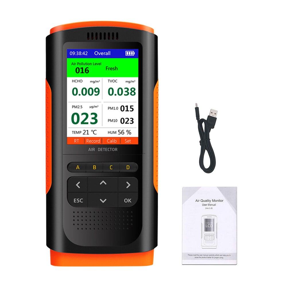 Monitor de Qualidade do ar Monitoramento de Dados do Escritório em Casa Analisador Hcho Tvoc Display Interior Profissional Temperatura Umidade Pm2.5 Lcd