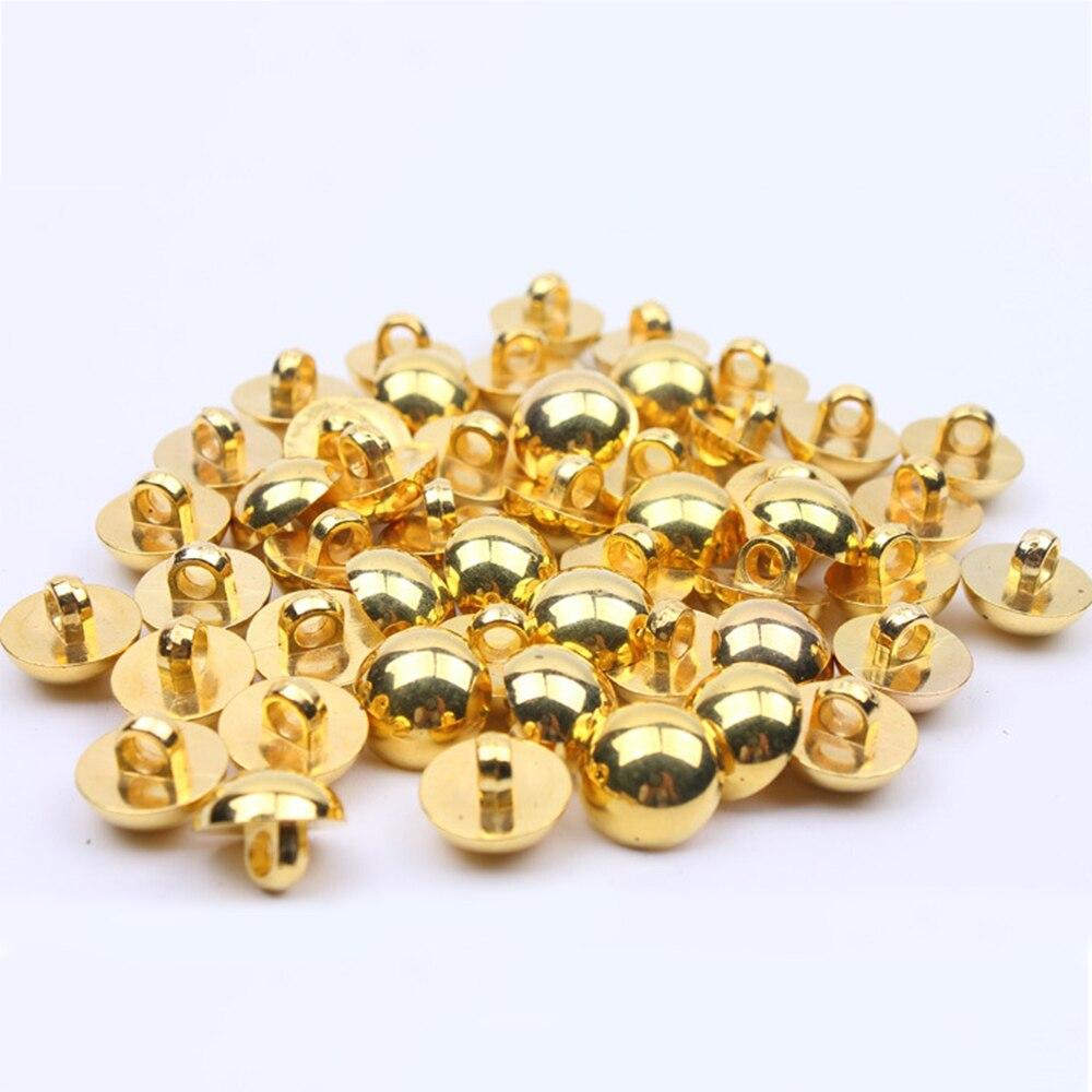 50 unids/lote 12,5mm botones de plástico con dorado pulido acabado para la mayoría de las aplicaciones de traje para vestido