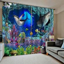 Cortinas 3D sala de estar shark mundo submarino cortinas para niños dormitorio moderno moda ventana cortinas