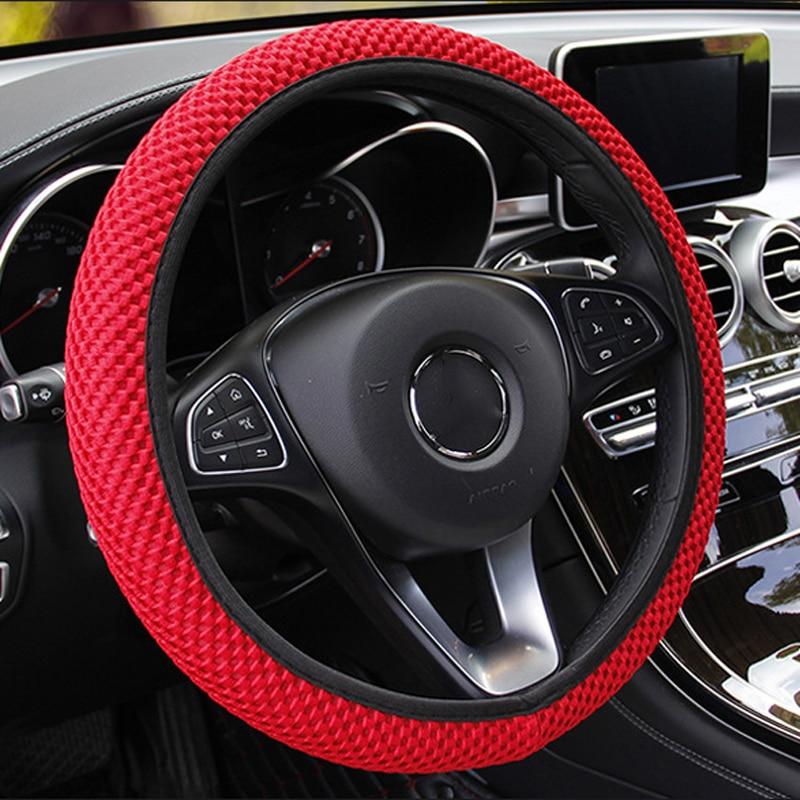 Чехол рулевого колеса автомобиля дышащие противоскользящие Чехлы для руля 37-38 см, автомобильное защитное украшение рулевого колеса
