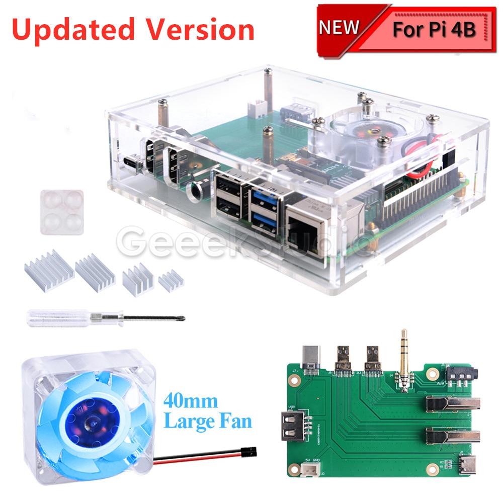 مجموعة صندوق فك التشفير مع 4010 مروحة إضاءة LED زرقاء ومشتت حراري من الألومنيوم لـ Raspberry Pi 4B