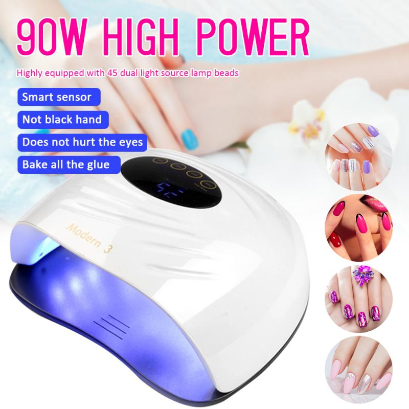 Lâmpada led uv para secador de unhas, 90w, lâmpada para secagem de unha de gel, lâmpada para manicure, esmalte em gel ferramenta de arte de unhas para salão de manicure