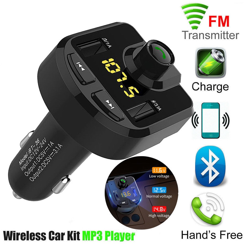 Carro handsfree sem fio bluetooth kit transmissor fm lcd carro mp3 player 2 usb carregador fm modulador acessórios do veículo