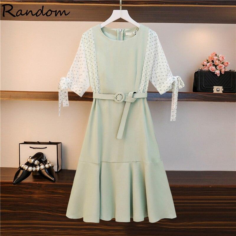 Vestido de fiesta verde de L-4XL de talla grande para mujer, vestido elegante de verano a la moda de tela de manga corta para oficina, Vintage, Polka dot Patchwork Dreess