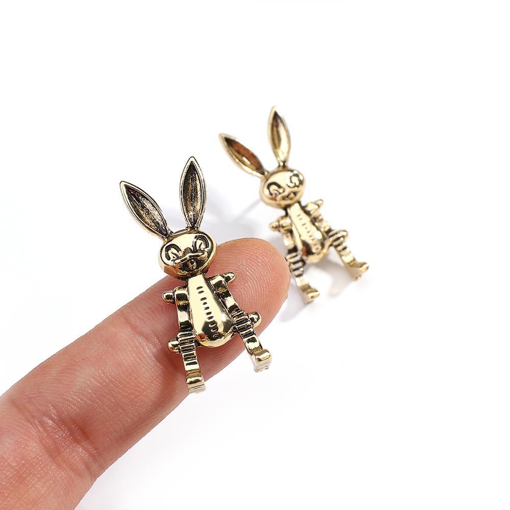 Женские серьги-подвески AENSOA в стиле панк с забавными животными и кроликом золотого цвета, Винтажные серьги в стиле хип-хоп с животными, вечерние ювелирные изделия для девушек