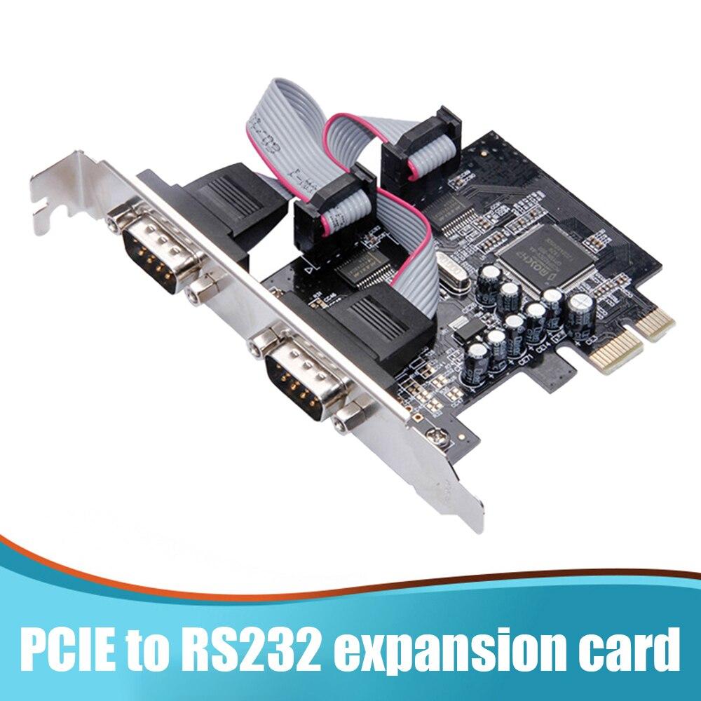 بطاقات توسعة من PCI-E إلى 2 منفذ تسلسلي RS232 بمنفذين 9922 جهاز تحكم تسلسلي ببطاقة Riser مهايئ PCI-E لحافلة التوسع