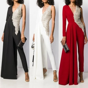 Evening Dress Women's Jumpsuit Fashion Asymmetrical Design Deep V Neck High Waist Slim Evening Dress
