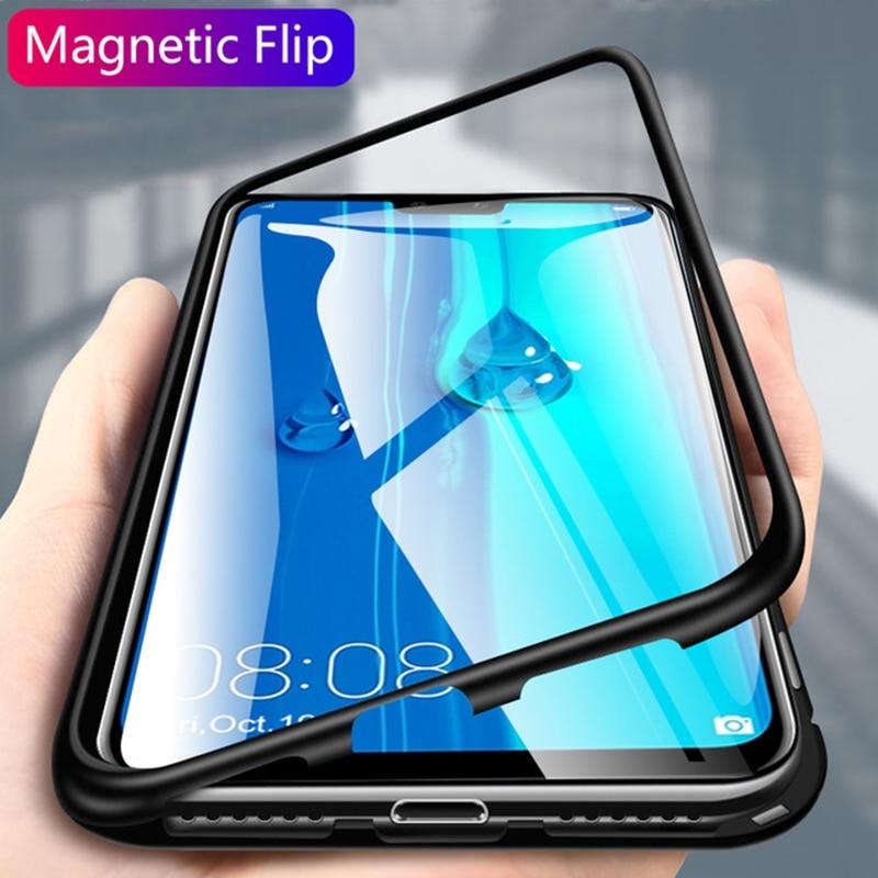 Voor Oppo Realme X2 Pro Xt 5 3 X Lite Q Case 360 Dubbele Metalen Magnetische Glas Case Cover Oppo a9 2020 F9 R15 Reno 2Z A5S A3S Gevallen