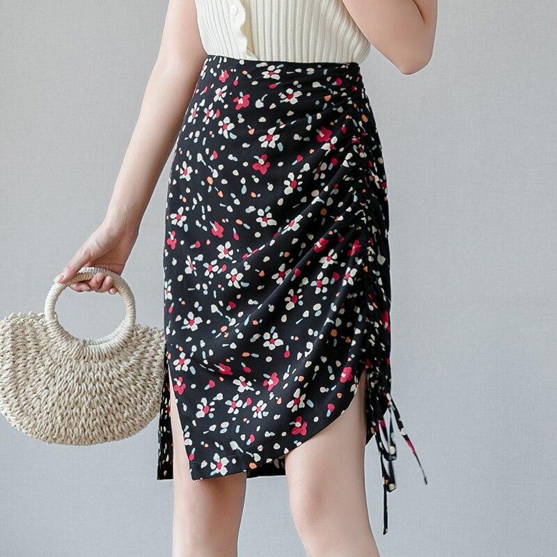 عالية الخصر تنورة المرأة خمر الأزهار طباعة الصيف الكورية ألف خط عالية الخصر أنيقة كل مباراة بسيطة السيدات ميدي التنانير