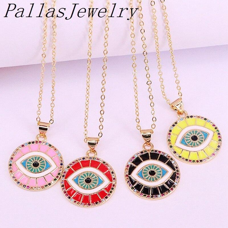 10 piezas de oro Color de moda esmalte ojos collar encanto Arco Iris CZ Micro pavé redondo colgante collares joyería para mujer chica