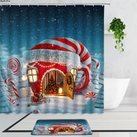 christmas shower curtains cute cartoon snowman santa claus child holiday gift bathroom curtain set non slip bath mats carpet rug