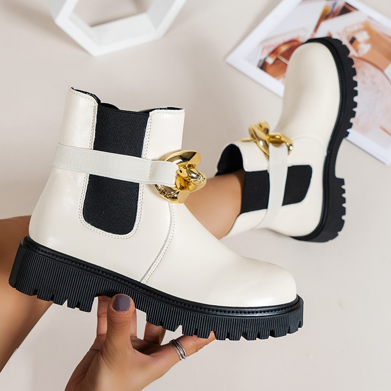 Women Boots 2022 Autumn And Winter New Fashion Metal Chain Chelsea Boots Ladies Slip-On Round Toe So